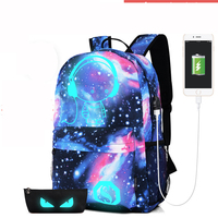 personal Luminous adult backpack bag with USB port fashion computer laptop bag with free gift luminous pencil bag (S25-9)