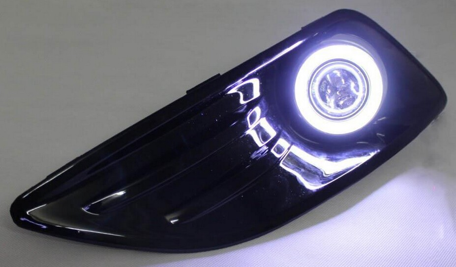 Высочайшее качество УДАРА Ангел глаз E13 объектив проектора противотуманная фара 5 видов цветов светодиодные фары дневного света для форд фиеста 2013-14, одна пара