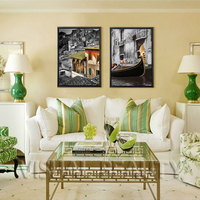 FREE SHIPPING Beautiful Cityscape Canvas Painting Scenery Paintings Canvas Arts(Unframed)60x80cmx2pcs