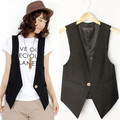 New High quality Women's Causal Vest V-neck Sleeveless Jacket solid color female's slim Blazer