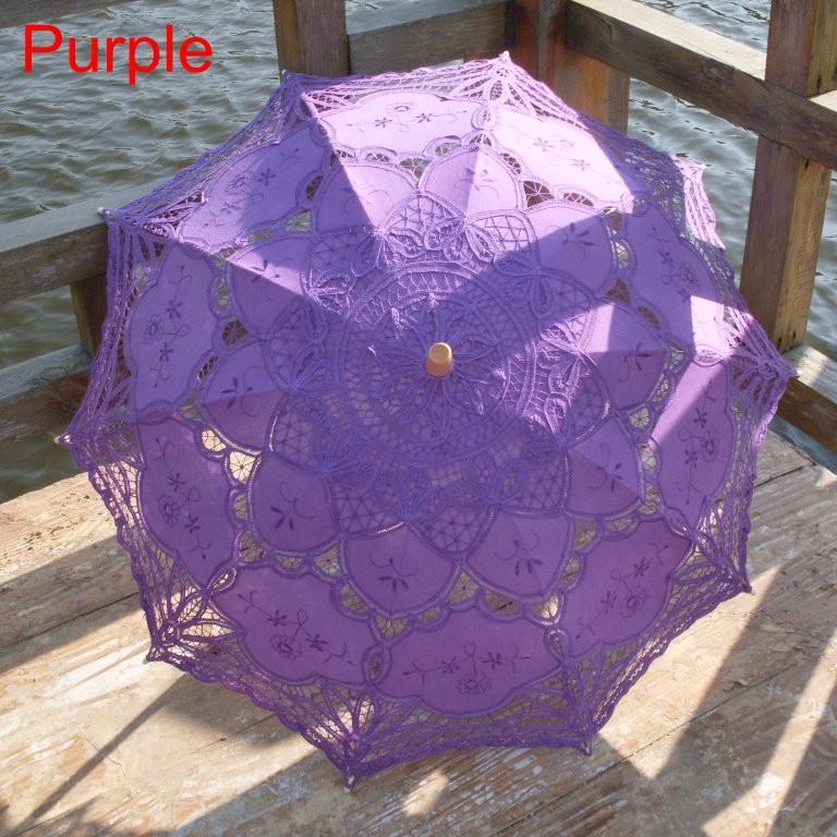 New Lace Umbrella Cotton Embroidery White/Ivory Battenburg Lace Parasol Umbrella Wedding Umbrella Decorations Free Shipping 29