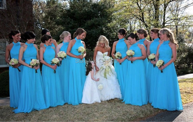 Turquoise blue bridesmaid dresses long