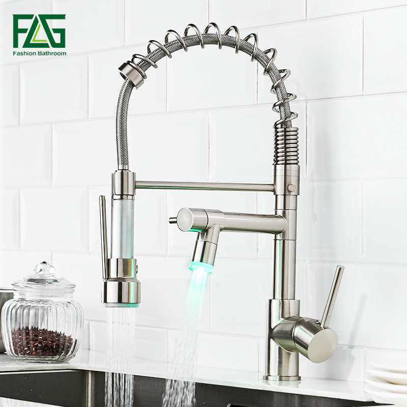 FLG LED Kitchen Faucet Brushed Nickel Pull Down Kitchen Taps D  Handle 360 Degree Rotating Cold Hot Water Mixer Sink Tap