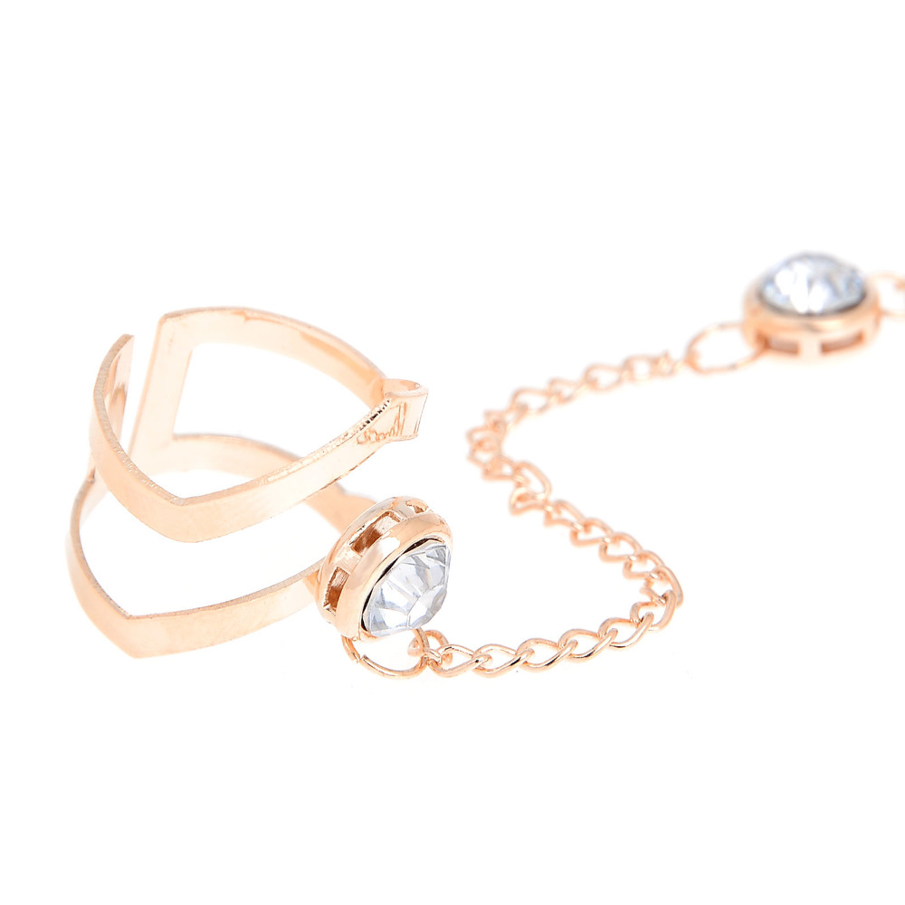 2018 Mode Cantik Berlian Imitasi Gelang Bangle Terhubung Cincin Jari - Perhiasan fashion - Foto 3