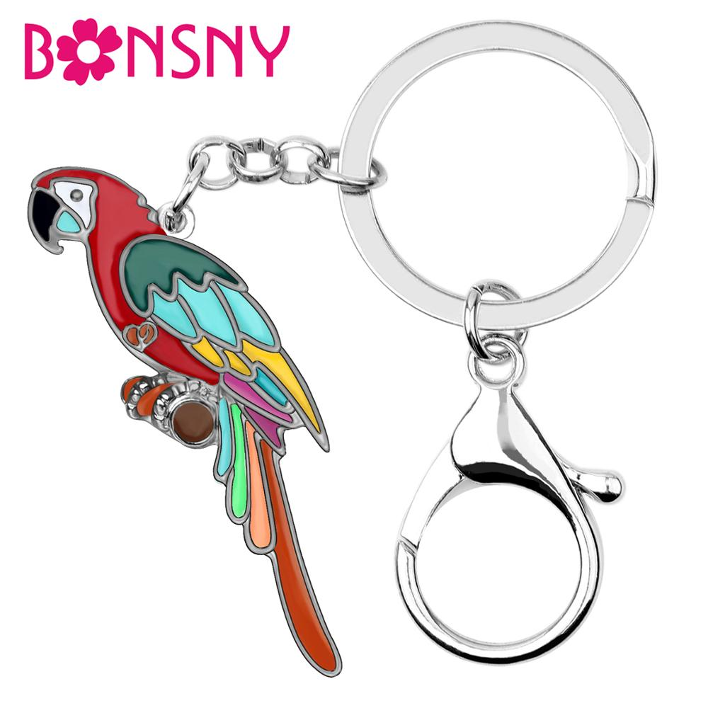 Bonsny Enamel Alloy Cartoon Fashion Macaws Parrot Keychain Key Rings Colorful Bird Jewelry For Women Girls Teen Charms Gift