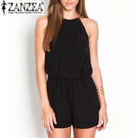 Hot Summer 2015 Rompers Womens Jumpsuit Sexy Sleeveless Halter Keyhole Back Short Jumpsuit Chiffon Overalls Playsuit