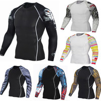 Mens Fitness Long Sleeves Rashguard T Shirt Men Bodybuilding Skin Tight Thermal Compression Shirts MMA Crossfit