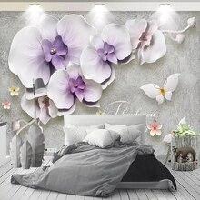 цена на Custom 3D Wall Murals Modern Embossed Flowers Butterfly Photo Wallpaper Living Room TV Sofa Bedroom Background Wall Home Decor