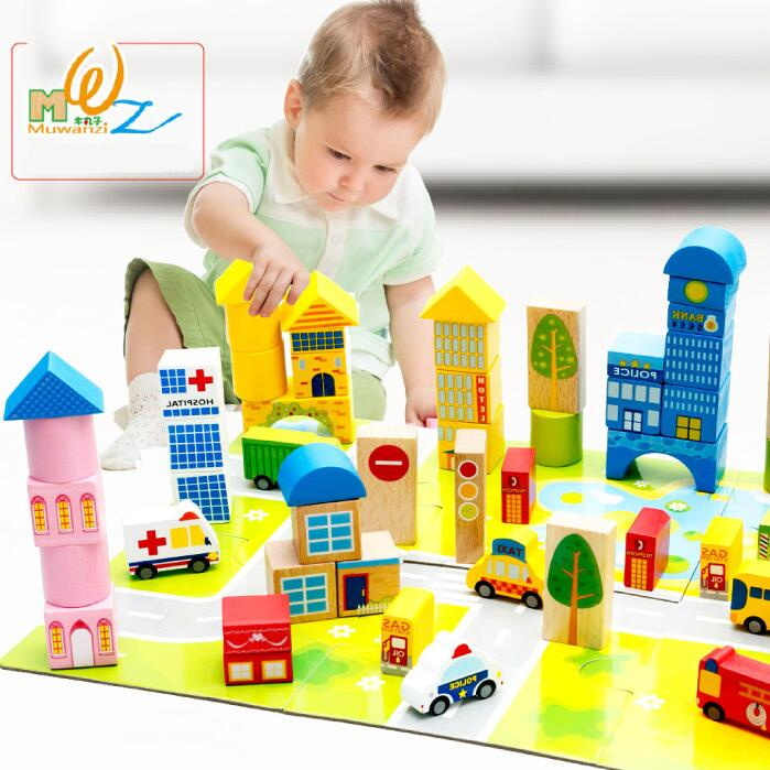 62pcs / set learning education car and wood collection city traffic Montessori education wooden toys custom size photo 3d wood blackboard graffiti wallpaper pizza shop snack bar restaurant burgers store wallpaper mural
