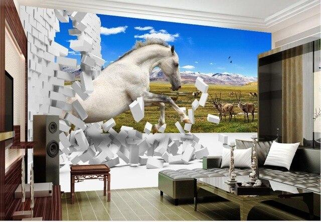Wand Dekoration Vliestapete Steppe Pferd 3d Tapete Für Moderne Wohnzimmer  Wand Home Dekoration