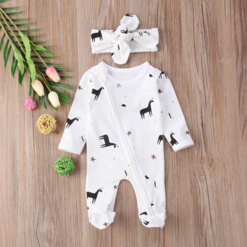 Novelty Baby Boys Girls Newborn Infant Top Romper Jumpsuit Bodysuit+Headband Clothes Outfit Set