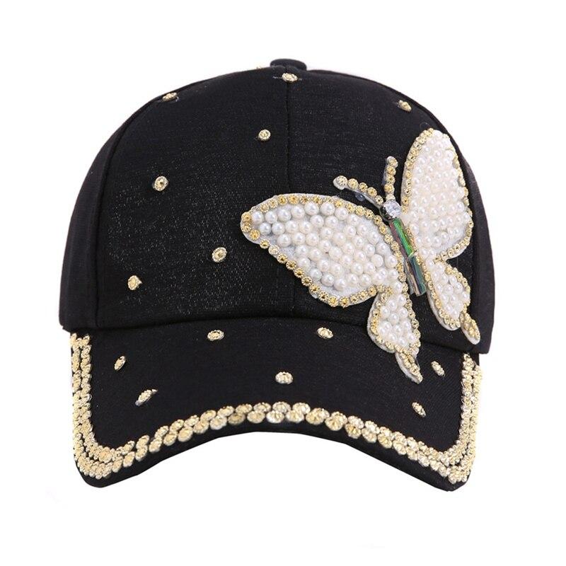 Kopfbedeckungen Für Damen Baseball-kappen Luxus Schönheit Sommer Baseball Kappe Multi Farbe Strass Schmetterling Mädchen Frauen Mode Hysterese Hut