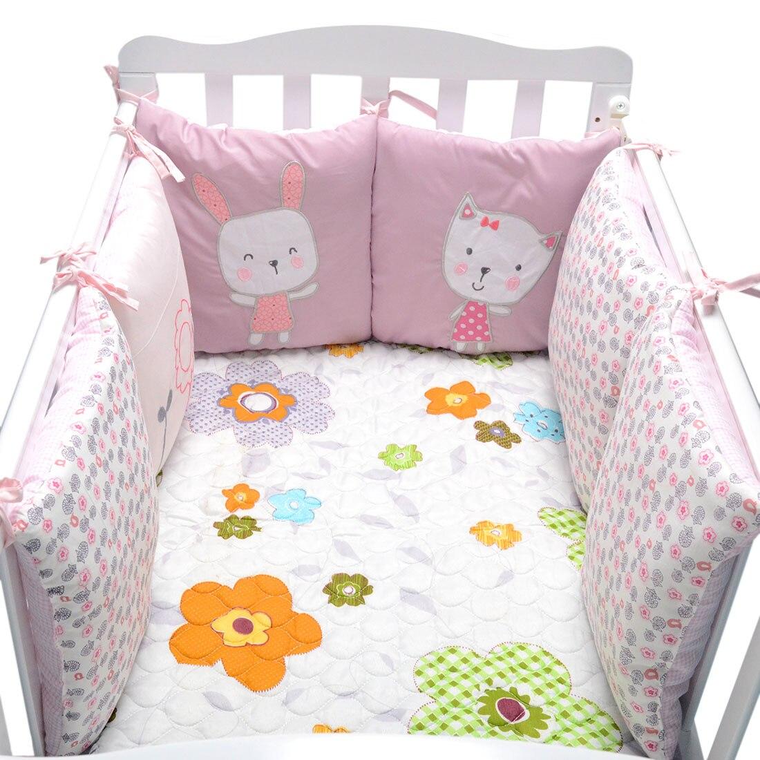 Baby Bed Wieg.6 Stks Partij Baby Bed Bumper In De Wieg Konijn Bloemen Baby