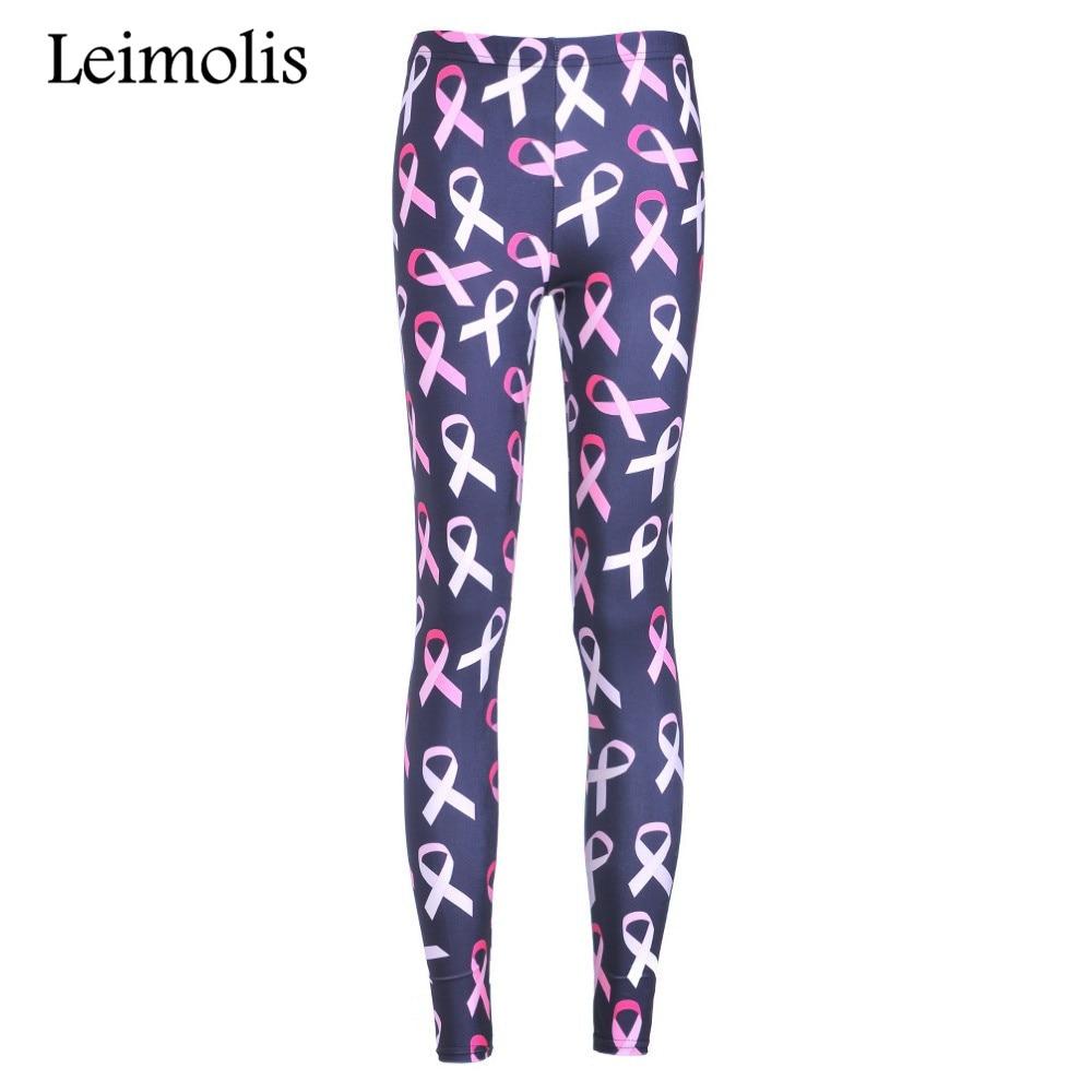 Leimolis 3D printed fitness push up workout leggings women pink ribbon bow plus size High Waist punk rock pants