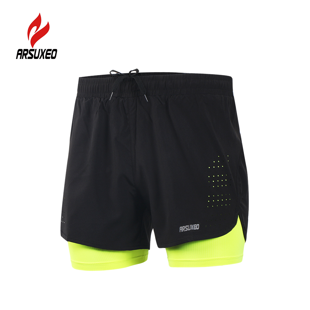 Arsuxeo Men's 2-in-1 Running Shorts Quick Drying Breathable Active Training Exercise Jogging Cycling Shorts With Longer Liner