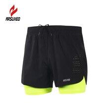 Arsuxeo Для мужчин для бега 2-в-1 шорты быстросохнущие дышащие шорты для бега активных тренировок бега Велоспорт шорты для женщин с более лайнер
