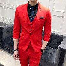 Новое поступление Лидер продаж бренд г. Летняя мужская модная Высококачественная обувь однотонный костюм Мужской casual slim английский стиль Блейзер жилет и брюки