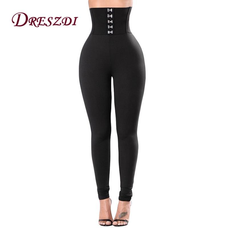 Dreszdi 2017 Sexy Black High Waist Women Fitness Legging Long Fitness Leggins Corset Belt Show Thin Vintage Legging