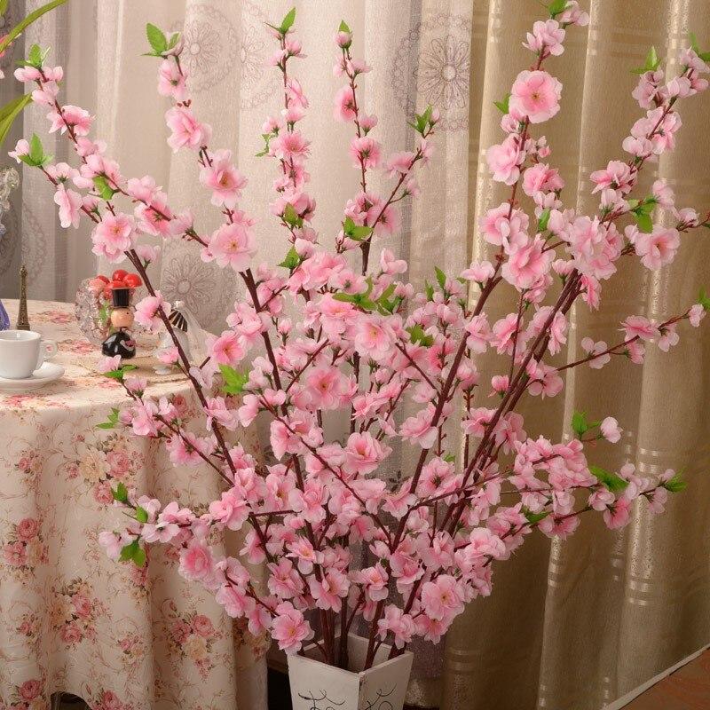 Ciliegio artificiale Spring Plum fiori di Pesco Ramo Fiore Di Seta Albero di Ciliegio FAI DA TE Wedding Party Decor Ornament