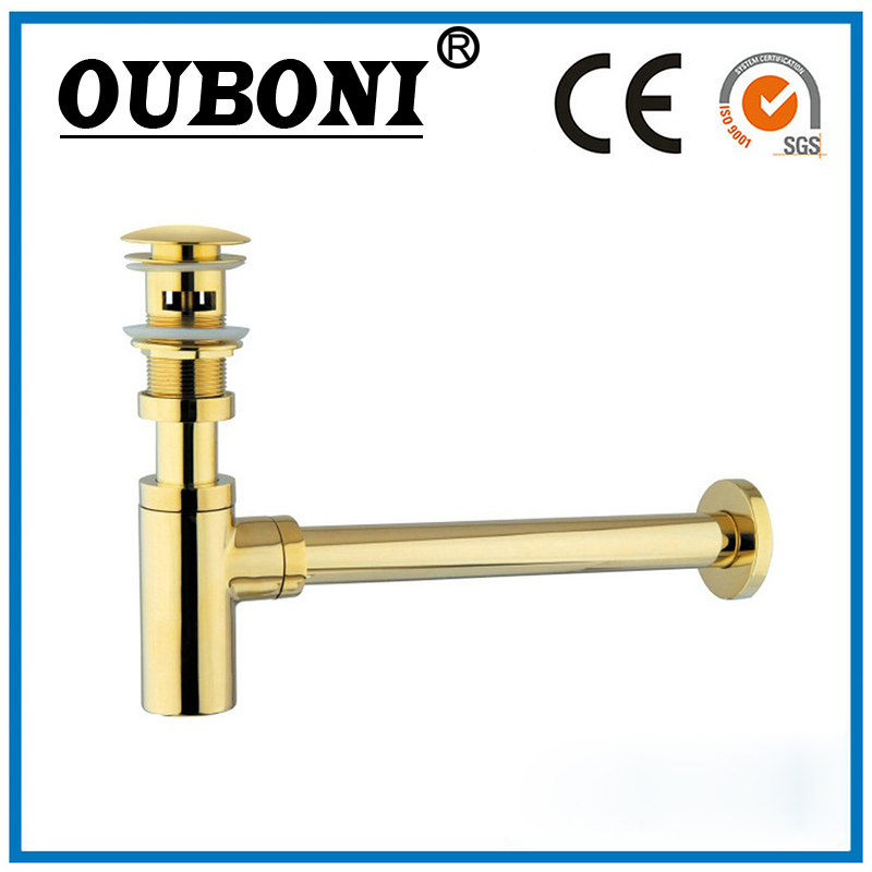 OUBONI NEW Bottle Traps Pop up Waste Drain Basin Faucet Deodorant P-Traps Waste Pipe Into The Wall Drainage Plumbing Tube new luxury classical antique bronze push down pop up drainer waste without overflow
