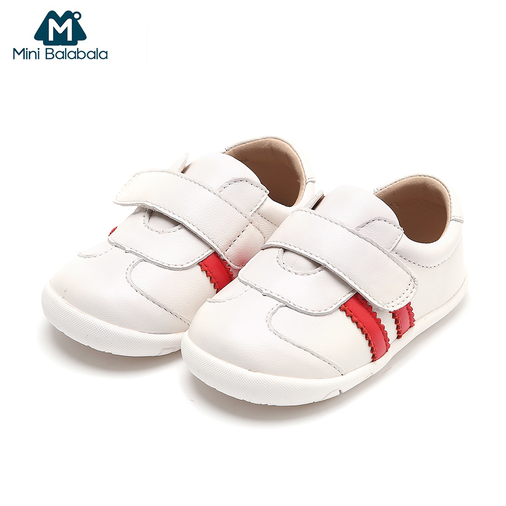 Mini Balabala Baby Sneakers Toddler Genuine Leather Shoes Infant Girls Boys Footwear First Step Walking Soft Bottom Non-slip