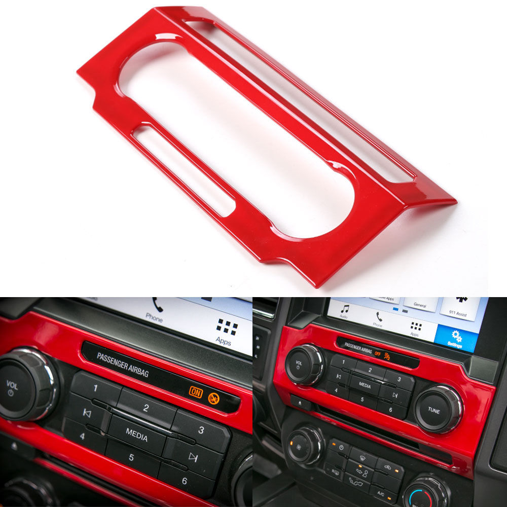 3 Colors ABS Car Center Control Volume Switch Button Panel Cover Trim Decorate Frame For Ford F150 2015+ Car Styling Accessories