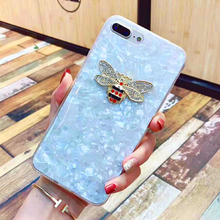 Cyato Luxury Rhinestones Bee Case For iPhone 7 Plus Geometric Texture Colorful Conch Clear TPU Cover Back X 8 6 6S