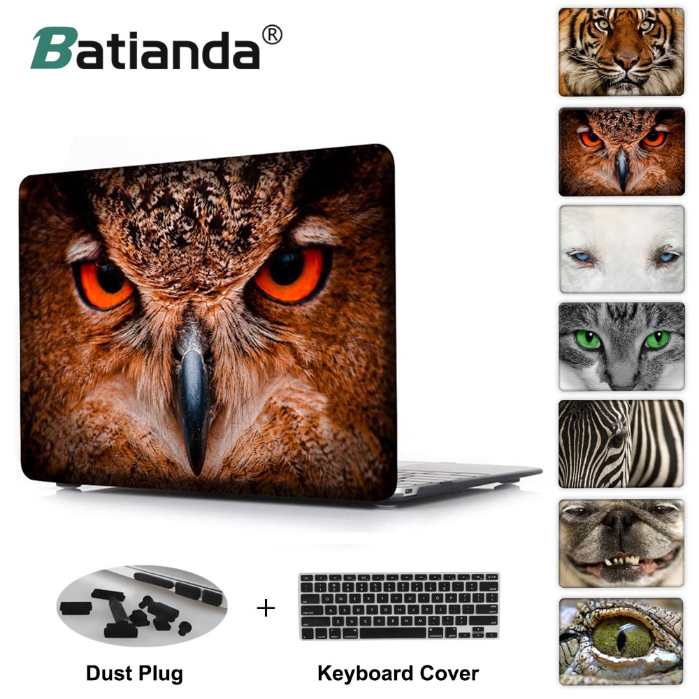 Animal facial Lovely Owl zebra tiger cat dog print Case For MacBook Pro 13 Air 13 11 Pro 15 Retina 12inch laptop cover shell