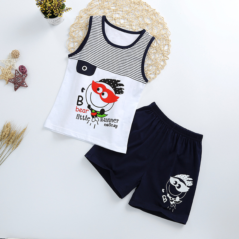 Summer Cute Cartoon 2PCS Kids Baby Boys Girls Floral Vest Top Shorts Pants Set Clothes Children Pajamas Girls Clothing Sets DS9 2pcs kids baby girls summer outfits lace tops floral shorts pants clothes sets children kid girl cute clothing