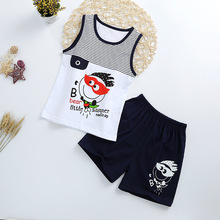 Купить с кэшбэком Summer Cute Cartoon 2PCS Kids Baby Boys Girls Floral Vest Top Shorts Pants Set Clothes Children Pajamas Girls Clothing Sets DS9