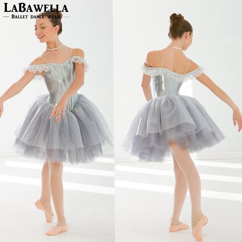 girls gray sleeping beauty lyrical dance tutu dress costume child ballerina performance tutu dress BT0131