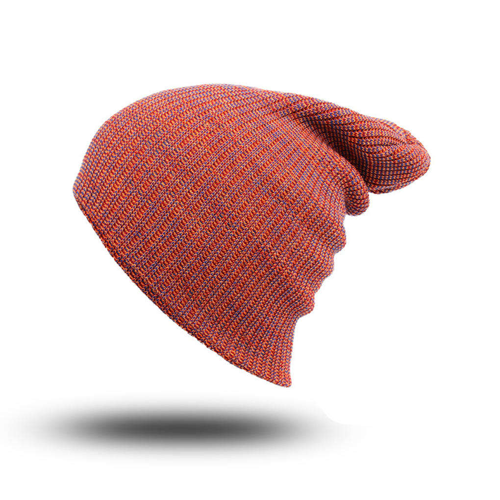Warm Men's Autumn Winter Adults Warm Skull Caps Hats with 3 Colors Mixture Style Knit Beanie Inexpensive healthy adults stripe design skull caps with solid color hats warm woolen yarn beanie inexpensive