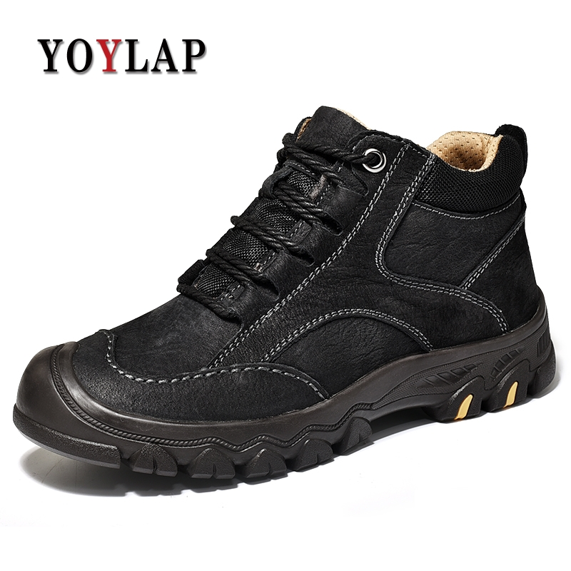 2018 Winter Boots Men Genuine Leather Waterproofs Natural Ankle Men Boots Warm Fur Plush Winter Shoes Men High Quality #8090 2017 genuine leather men boots winter shoes men waterproofs fur ankle plush warm snow boots men high quality mens winter shoes