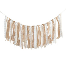 Burlap Lace Tassel Garland Rig Tie Banner for Baby Shower Rustic Wedding Backdrop Party Decor Shabby Chic 4FT