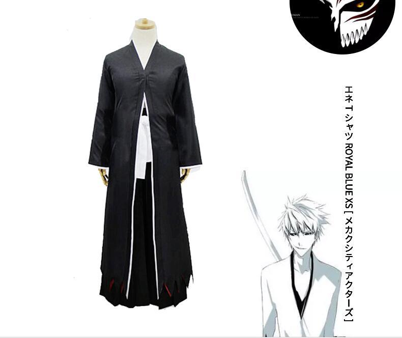 Anime javel Cos hommes Halloween Costume Cosplay Kurosaki Ichigo Anime Costume noir japonais kimono haut + pantalon
