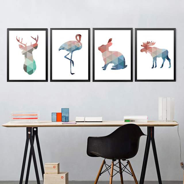 Nice Geometric Animals Canvas Prints Watercolor Animals Painting Children Bedroom  Wall Stickers Canvas Art Painting Posters HD1609