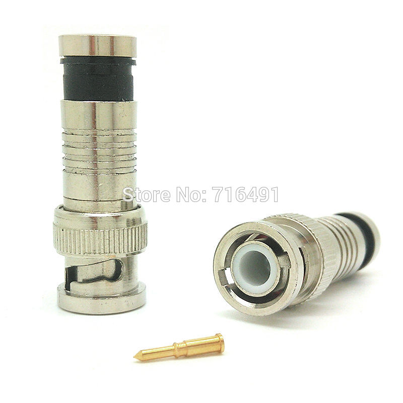 Freeshipping 10 Pcs BNC Connector Male Compression Coax CCTV Cable Connectors Bnc Insulation Connector