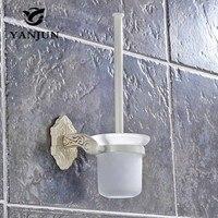 YANJUN Wc Portaescobillas Accesorios de Baño WC Cepillo Con Un Mango Largo Para El Baño de Aleación de Zinc de Marfil Blanco YJ-7762