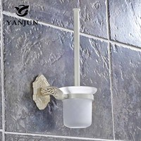 YANJUN Toilet Brush Holder Bathroom Accessories WC Brush With A Long Handle For The Toilet Zinc Alloy Ivory White YJ 7762