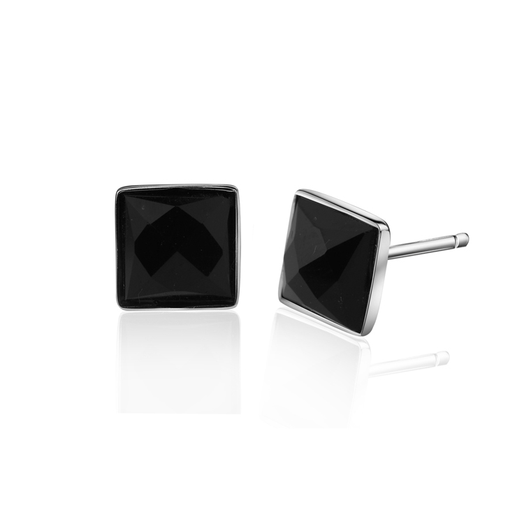 Hot sell fashion square black crystal men 925 sterling silver man stud earrings jewelry gift wholesale