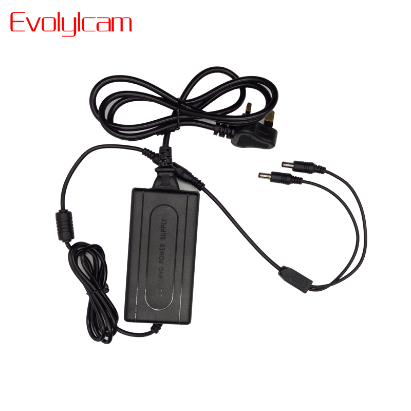 Evolylcam 1 Split 2 Power Cable Adapter 12V 5A CCTV Power Supply For Security Camera CCTV System EU/US/UK/AU Plug Converter security uk us eu au 12 volt 1 amp power supply power adapter for cctv ir infrared night vision lamp dvr systems camera