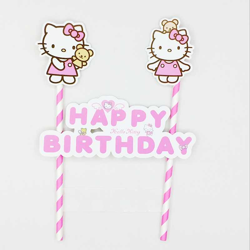 30120254c ... 1Set Lovely Hello Kitty Happy Birthday Party Cake Topper Cake Banner  Straw Flags Decoration Kids Girl ...