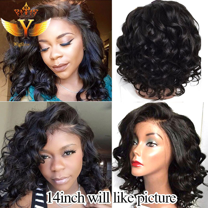 Lace Front Human Hair Short Bob Wigs For Black Women Unprocessed