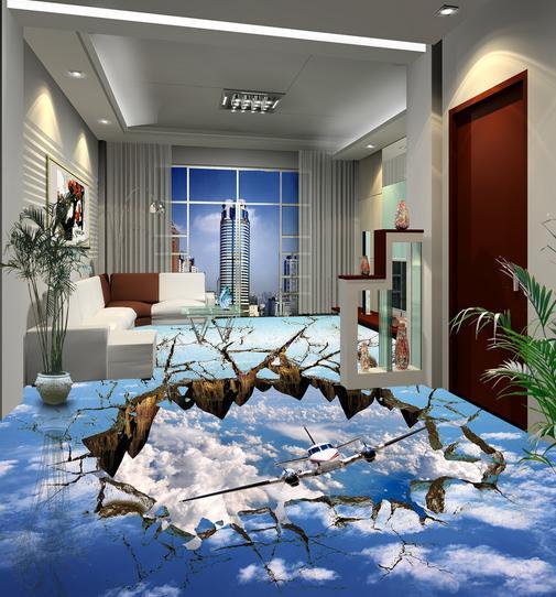 ФОТО customize 3d flooring mural wallpaper living room 3d floor Sky Aircraft wallpaper for walls 3d for floor