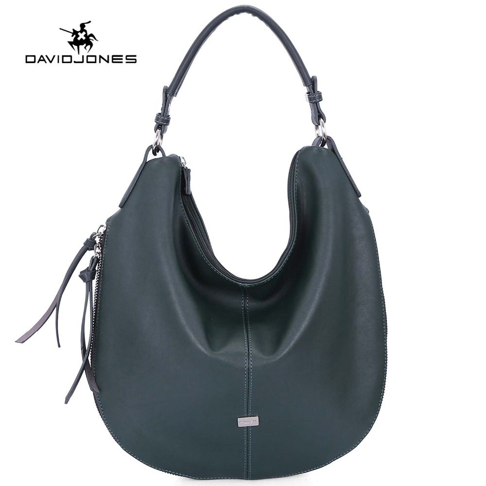 DAVIDJONES women handbag faux leather female shoulder bags big lady travel hobo bag girl brand shopping bag travel drop shipping-in Shoulder Bags from Luggage & Bags    1
