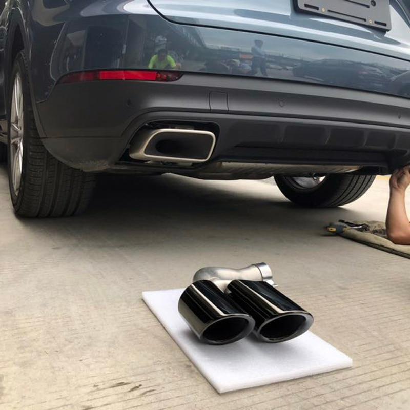 Pour Porsche Cayenne 2018 2019 Voiture Style Extérieur Queue Gorge Ronde Arrière D'échappement Silencieux Tuyau Pointe Véhicule Modification Couverture 2 *