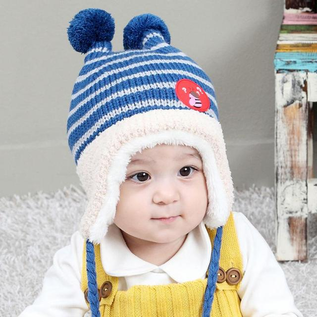 89b7dd03e3b Hot Sale Autumn Winter Bee Cashmere Children s Hat New Baby Hat Ball Cap  Baby Earmuff Hats