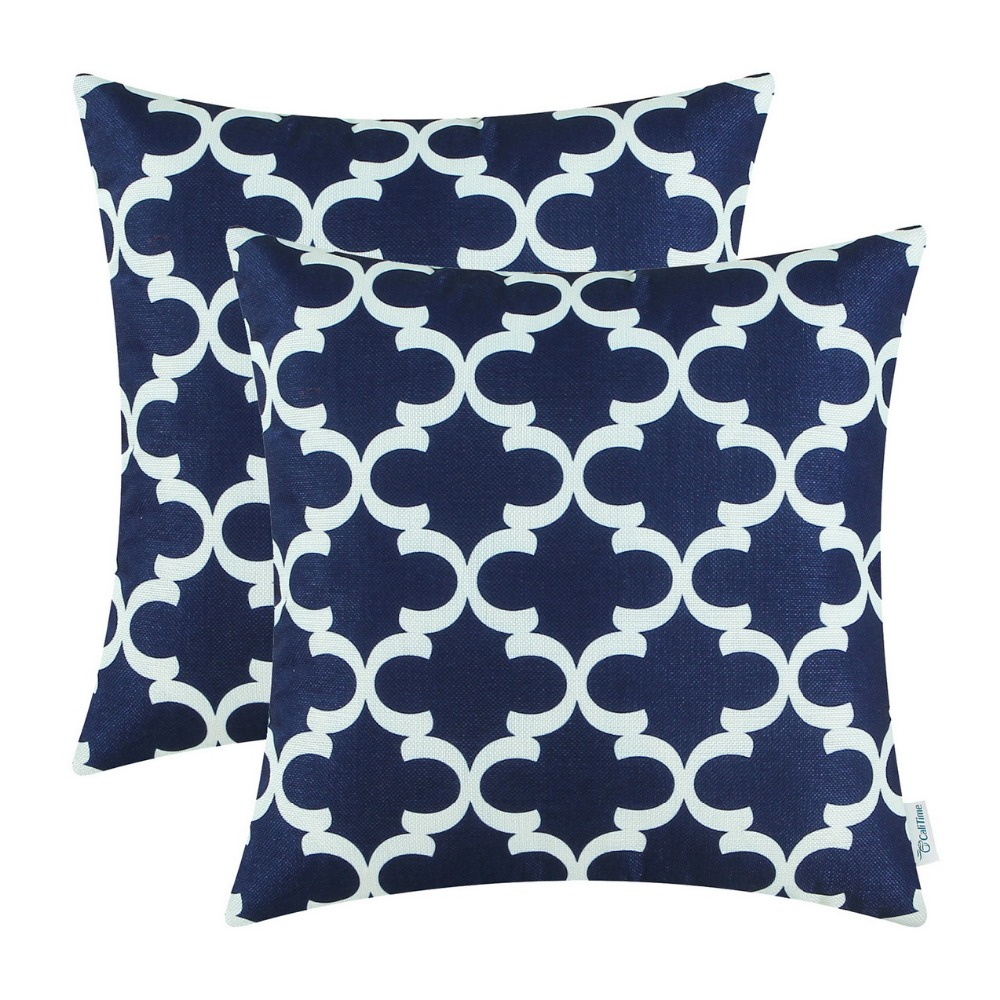 accent pillows blue promotionshop for promotional accent pillows  - pcs calitime navy blue cushion cover pillows shell quatrefoil accentgeometric home sofa decor bedding  x (cm x cm)