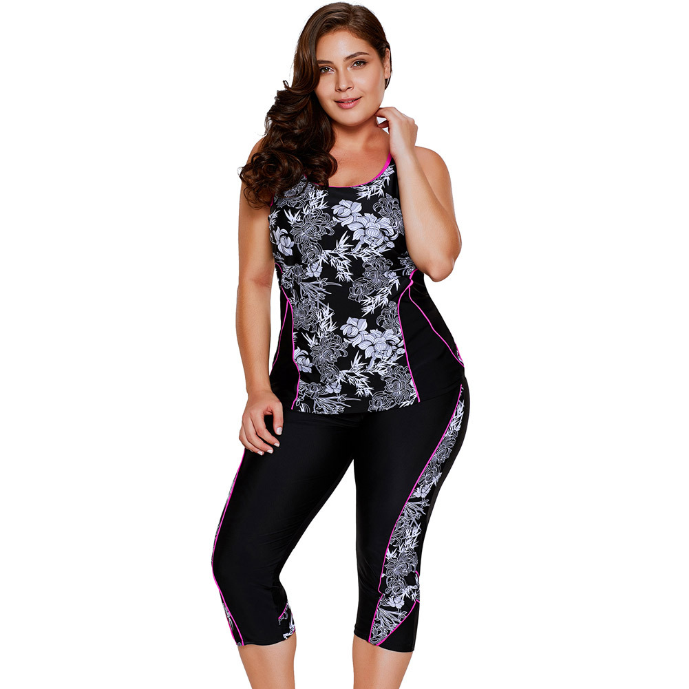 4991ea8398f Women Plus Size Swimsuit Capri Pants Sub Trousers Printing Conservative  Swimwear Sling Swimsuit Female Tankini Beach Suit-in Body Suits from Sports  ...