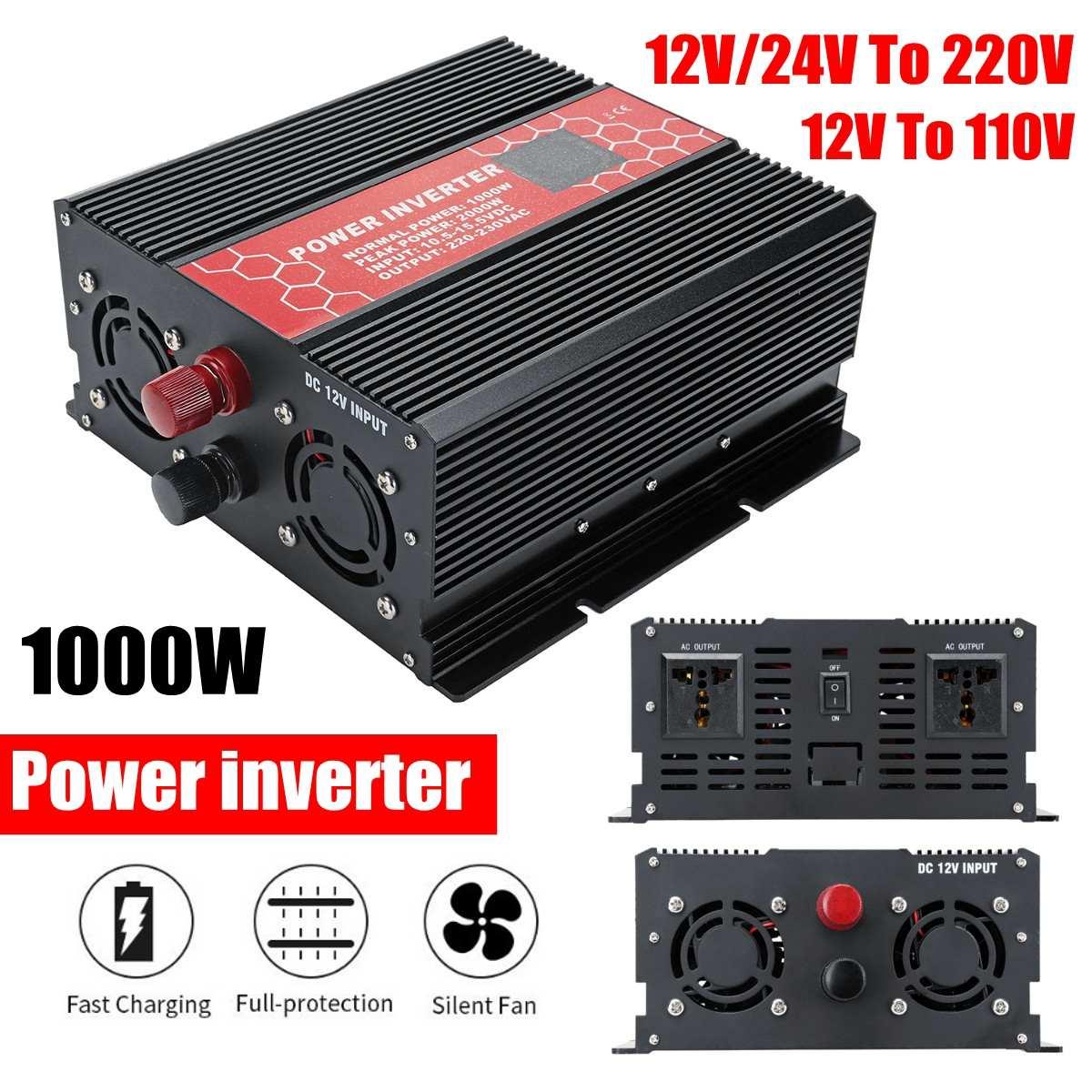 Convertisseur Intelligent d'inverseur d'écran 12/24 V à 110/220 V 1000 W 20000 W convertisseur d'inverseur de transformateur de tension d'onde sinusoïdale modifiée par crête